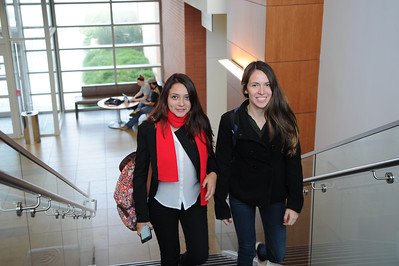 Students Alejanta Forero and Maria Vivar walk to the class . First day of class 2015