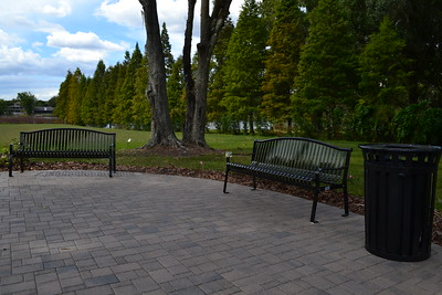 New benches and trash cans were installed on both campuses