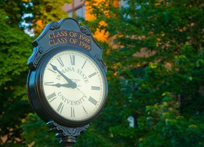 alumni, clock, night