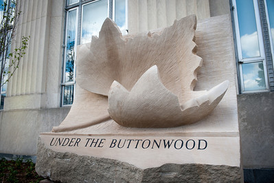 Under the Buttonwood, sculpture placed on north side of Federal Hall Building, Scott College of Business