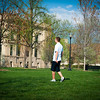 Images of students on campus in spring.