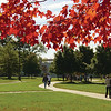 Walking across campus in the fall