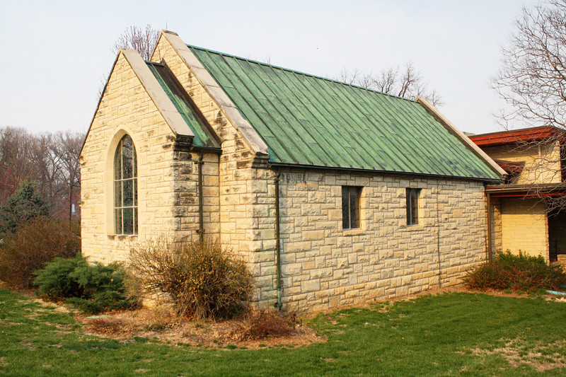 Danforth Chapel, with its iconic green roof, is connected to All Faiths Chapel on the Kansas State campus on April 5, 2019. (Dene Dryden | Collegian Media Group)