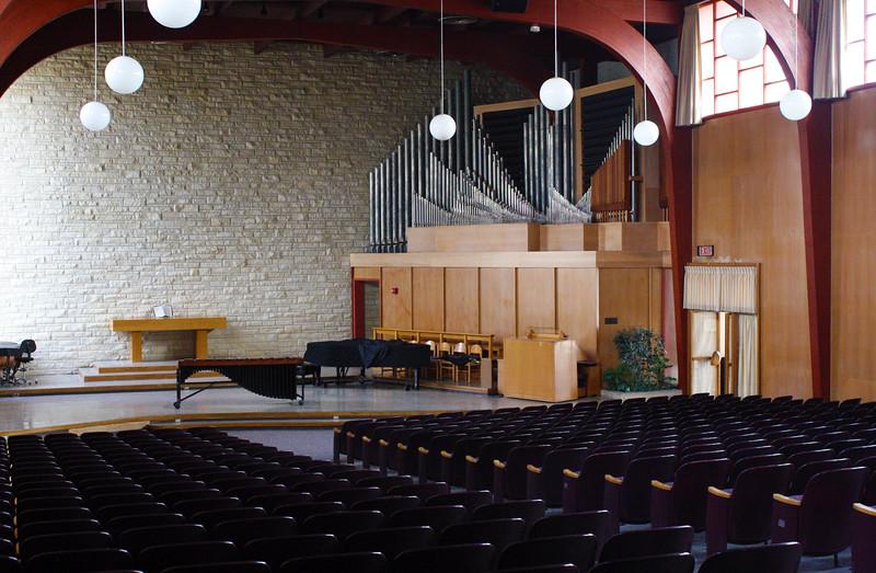 The interior of All Faiths Chapel on the Kansas State campus on April 5, 2019. (Dene Dryden | Collegian Media Group)