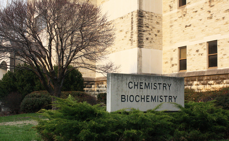 The Chemistry/Biochemistry Hall sign on the Kansas State campus on April 5, 2019. (Dene Dryden | Collegian Media Group)