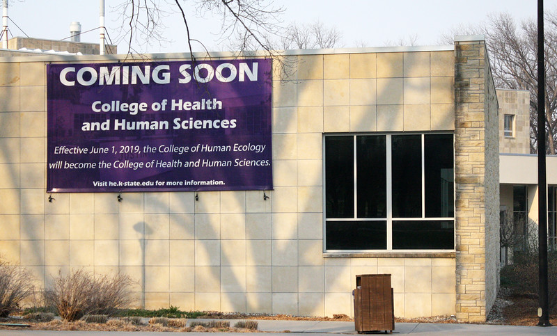 On Justin Hall, a sign notifies passersby about the college's upcoming name change on the Kansas State campus on April 5, 2019. (Dene Dryden | Collegian Media Group)
