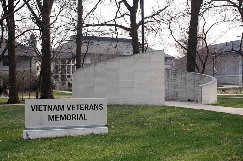 The Vietnam Veterans Memorial on the Kansas State campus on April 5, 2019. (Dene Dryden | Collegian Media Group)