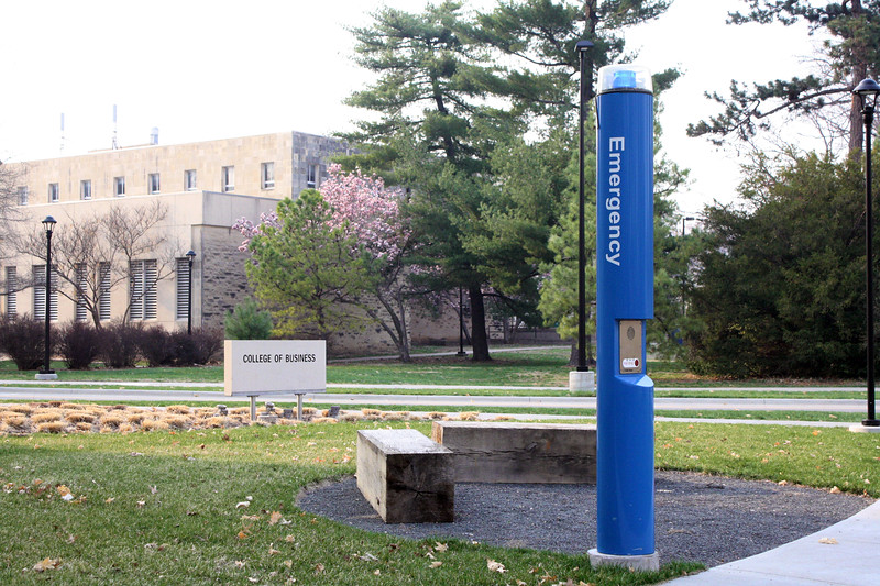 An emergency blue light pole located on the northeast corner of the Business Administration Building on the Kansas State campus on April 5, 2019. (Dene Dryden | Collegian Media Group)