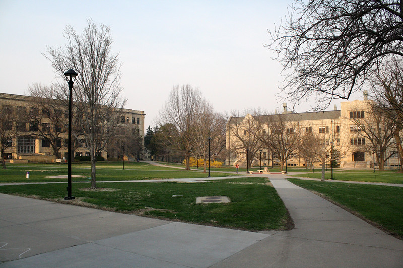 The Quad, as seen from Leasure Hall, on the Kansas State campus on April 5, 2019. (Dene Dryden | Collegian Media Group)