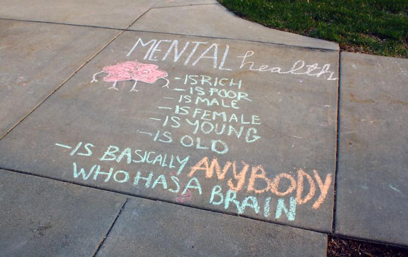 Sidewalk chalk art promotes mental health awareness near the Leadership Studies Building on the Kansas State campus on April 5, 2019. (Dene Dryden | Collegian Media Group)