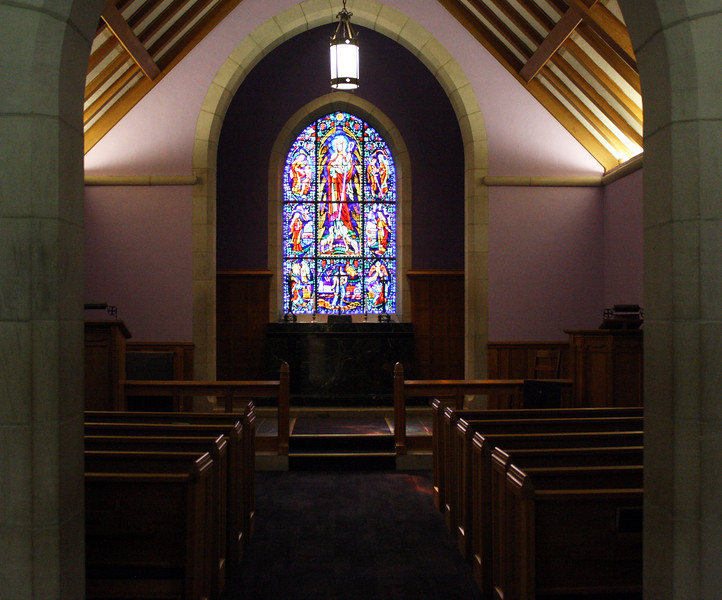 The small, intimate interior of Danforth Chapel on the Kansas State campus on April 5, 2019. (Dene Dryden | Collegian Media Group)