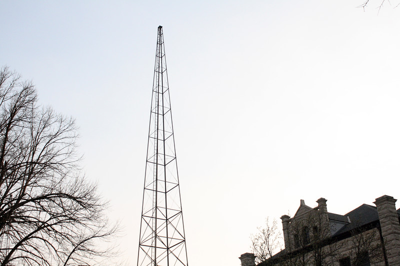 The campus's old radio tower, located near Calvin Hall, on the Kansas State campus on April 5, 2019. (Dene Dryden | Collegian Media Group)