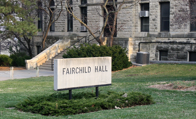 Fairchild Hall's sign on the Kansas State campus on April 5, 2019. (Dene Dryden | Collegian Media Group)
