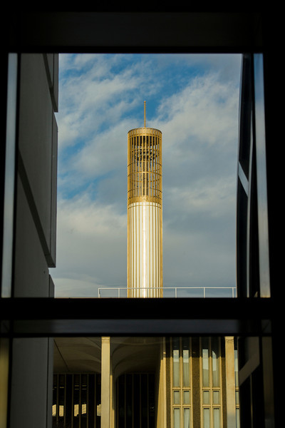 UAlbany's iconic Carillon towers over the downtown campus.  Photographer: Paul Miller