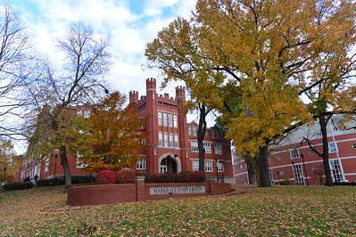 Old Main and Drinko Library in Fall