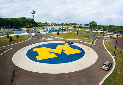 An aerial view of MCity in Ann Arbor, MI on July 17, 2015.   MCity is the world's first controlled environment designed for the testing of autonomous vehicles that communicate with each other.     Photo: Joseph Xu, Michigan Engineering Communications & Marketing  www.engin.umich.edu