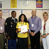 Victoria Guerra was one of two Summit High School students to receive a U.S. Army Scholar Athlete Award on May 26, 2011. <br /> The students were nominated by the school counseling staff and received a medal and a certificate. Great job!<br /> <br /> Pictured: SHS Associate Principal Todd Taylor, Staff Sergeant Kwesi Yansen, Victoria Guerra, SHS Principal Jimmy Neal and  SHS Counselor Barbara Herod.