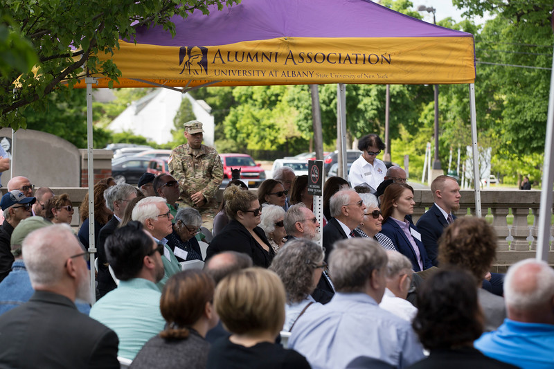 The unveiling of Memorial plaques inside the Garden of Remembrance at University at Albany's downtown campus on Wednesday, May 23, 2018. (photo by Patrick Dodson / University at Albany)