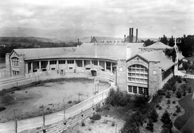 Cossitt Hall with Cossitt Bowl in foreground (1923)