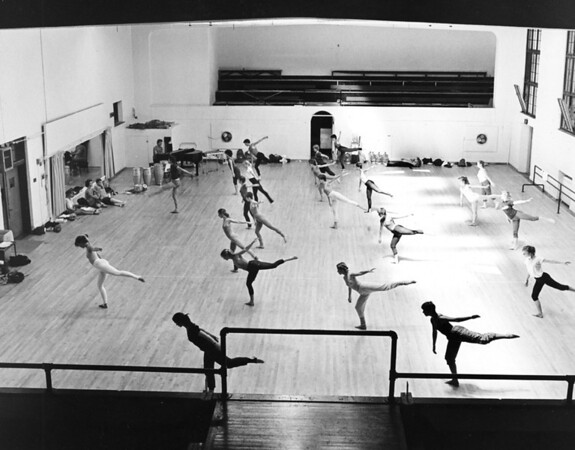 Dance class in gym circa 1970s