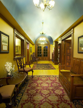 Foyer looking west at nighttime