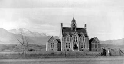 Main entry of Cutler Hall (then Palmer Hall) after the addition of two wings in 1882