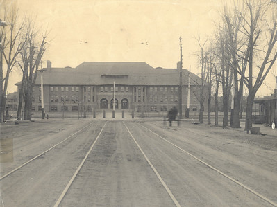 Palmer Hall, Tejon Street Trolley Tracks Turning East Early 1900's