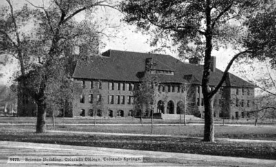 Early photo of Palmer Hall used for postcard