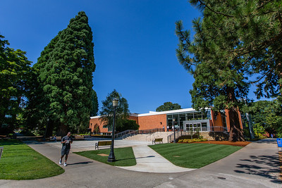 The Clark Library's new entrance in on the Academic Quad, facing Shiley Hall.