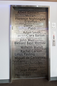 Engraved names honor great thinkers in the humanities, social sciences, and sciences.