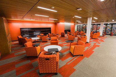 The lower level is filled with books, journals, and media, but still has space for student study.