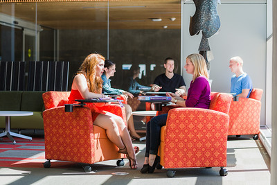 Chairs on castors allow students to configure seating for any size of study group.