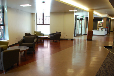 The new layout of the entrance way is a welcoming space, with both energy efficient diffused lighting and natural daylight. Taken by Sarah White '11.