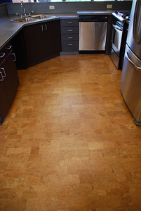 A partially recycled cork floor compliments new energy efficient appliances in the LLC's. Taken by Sarah White '11.