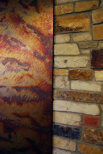 Old materials get new use as accent walls in the Matias lobby. Taken by Sarah White '11.