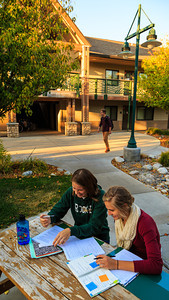 Students studying at Rimview Residence Hall