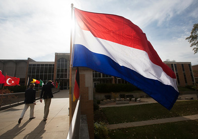 International flags fly along the GUC walkway during certain events.