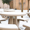 Rivers patio covered in snow