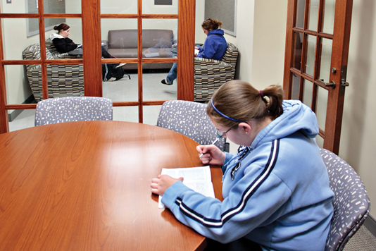 PEACE AND QUIET: A second-floor student library, funded in memory of Ann Spiller, provides a quiet space for studying, reading, relaxing or small meetings.