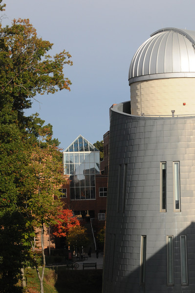 Enterprise Hall and the observatory tower on the Fairfax campus. Photo by Creative Services/George Mason University
