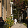 Students walking to class in front of the Art and Design building. Photo by Creative Services/George Mason University