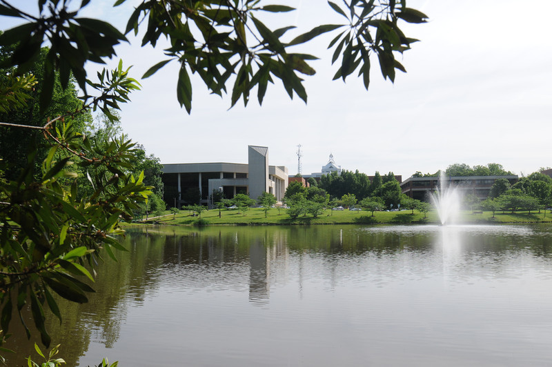 Center for the Arts across from Mason Pond. Photo by Creative Services/George Mason University