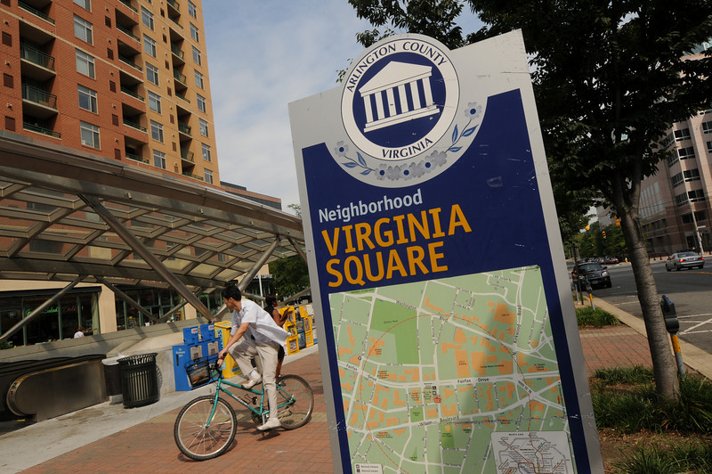 Arlington Campus, Virginia Square sign outside the Virginia Square metro. Photo by Evan Cantwell/Creative Services/George Mason University
