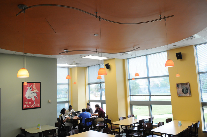 Students studying in Randall's Cafe on the Prince William Campus.  Photo by Creative Services/George Mason University