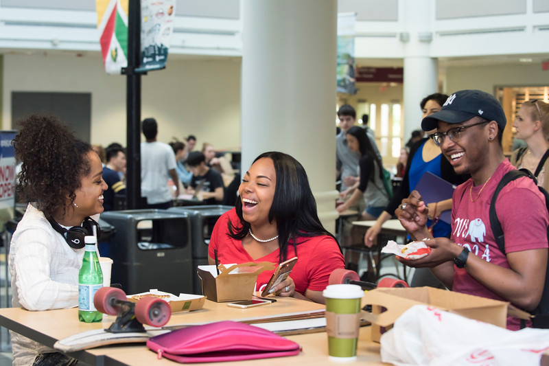Students gather at the Johnson Center. Photo by:  Ron Aira/Creative Services/George Mason University