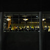 Southside window at night.  Photo by Creative Services/George Mason University