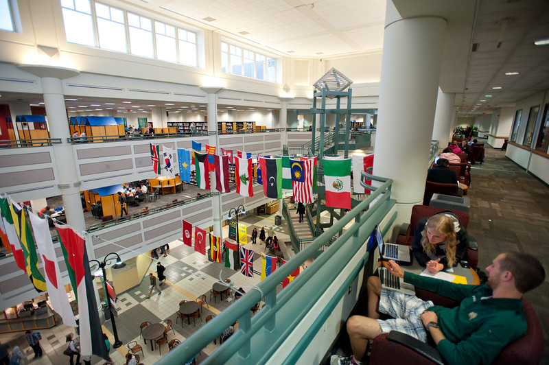 An interior of the Johnson Center at Fairfax Campus. Photo by Alexis Glenn/Creative Services/George Mason University