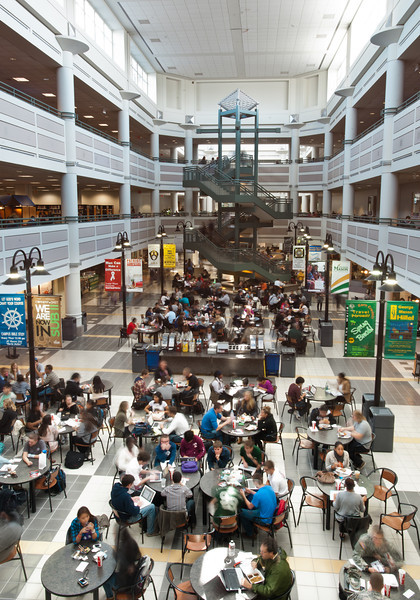 An overall of the food court area of the Johnson Center.  Photo by Alexis Glenn/Creative Services/George Mason University
