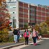 Students walk near the Research Hall at Fairfax Campus. Photo by Creative Services/George Mason University