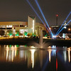 The Mason Pond at night featuring strobe lights.  Photo by Creative Services/George Mason University